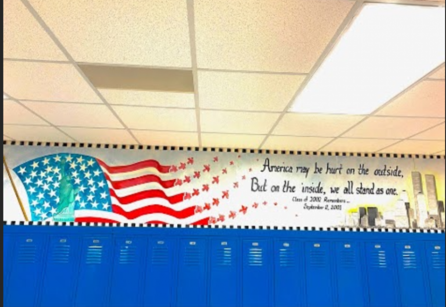 The beaytiful 9/11 memorial painting in the C hall across from cafeteria